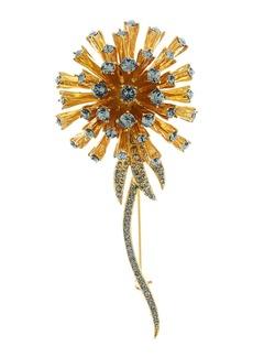 Oscar de la Renta Crystal Dandelion Brooch