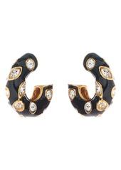 Oscar de la Renta Crystal Detail Enamel Hoop Earrings