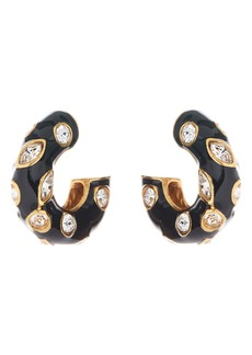 Oscar de la Renta Crystal Detail Enamel Hoop Earrings