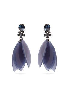 Oscar De La Renta Crystal-embellished petal clip-on earrings