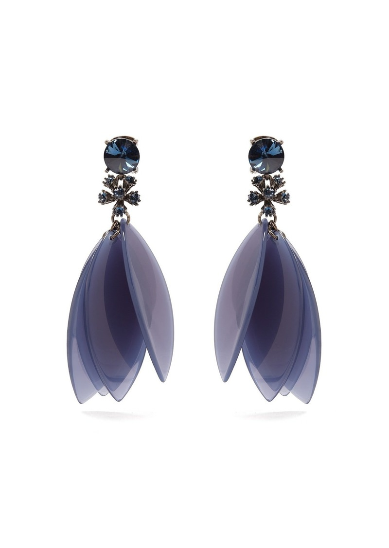 Oscar De La Renta Crystal-embellished petal clip-on earrings