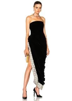 Oscar de la Renta Crystal Embellished Strapless Gown