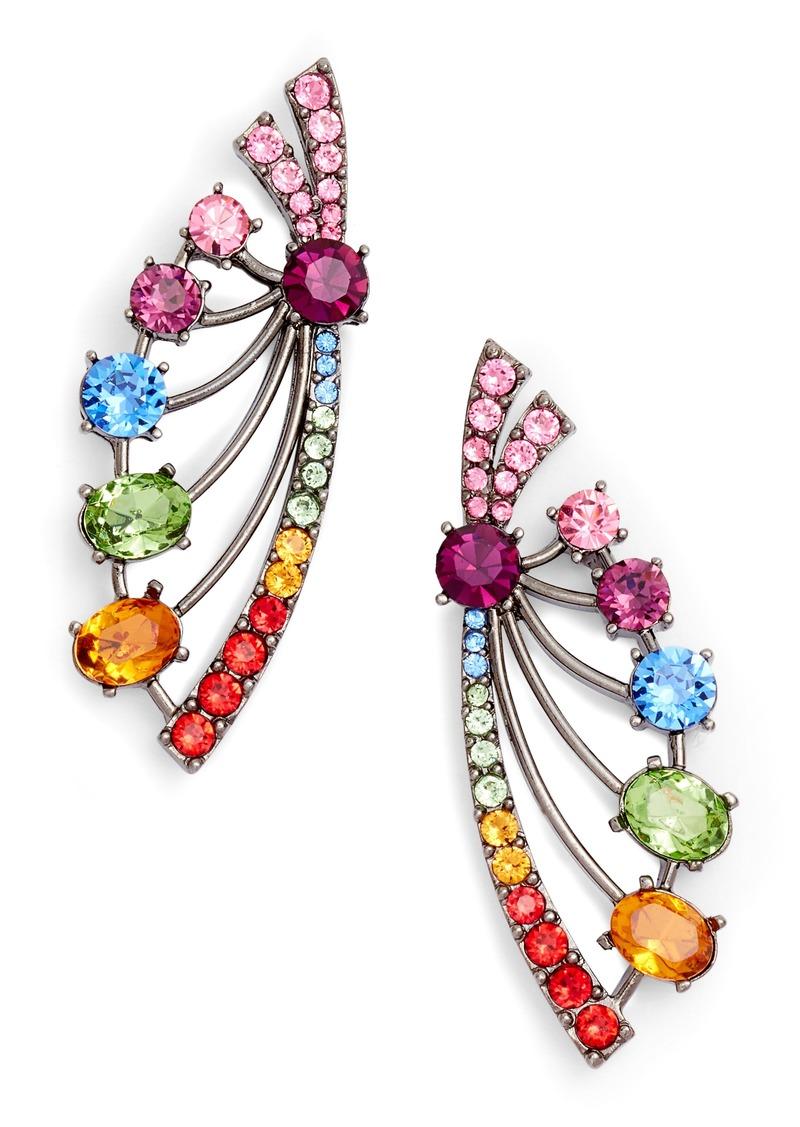 Oscar de la Renta Crystal Fan Earrings