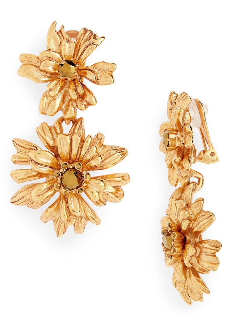 Oscar de la Renta Crystal Flower Drop Earrings