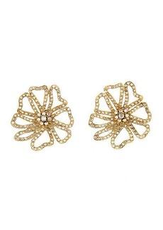 Oscar de la Renta Crystal Pave Large Flower Button Earrings