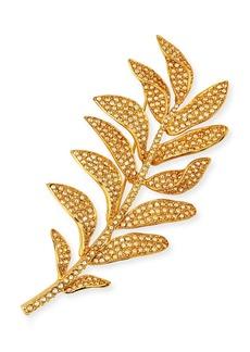 Oscar de la Renta Crystal Pave Leaf Brooch