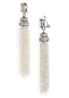 Oscar de la Renta Crystal Tassel Drop Clip Earrings