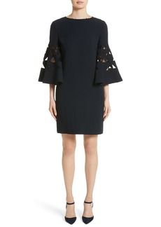 Oscar de la Renta Cutout Bell Sleeve Stretch Wool Crepe Shift Dress