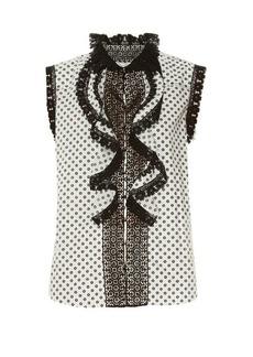 Oscar De La Renta Daisy-print lace-trimmed top