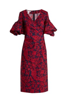 Oscar De La Renta Decorative floral-print cotton-blend poplin dress
