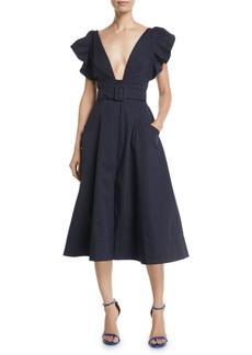 Oscar de la Renta Deep-V Flutter-Sleeve Belted A-Line Cotton Twill Midi Dress