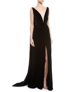 Oscar de la Renta Deep V-Neck Sleeveless Cape-Back Column Velvet Evening Gown