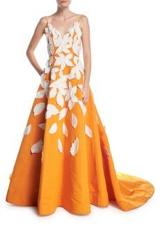 Oscar de la Renta Deep-V Spaghetti-Strap Evening Gown w/ Contrast Leaf Appliques