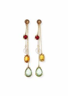 Oscar de la Renta Delicate Chain Swarovski Crystal Drop Earrings
