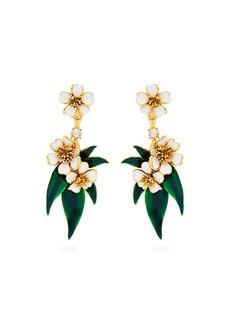 Oscar De La Renta Delicate Flower clip-on earrings