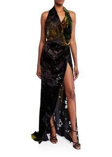 Oscar de la Renta Devore Velvet Halter-Neck Slit Gown