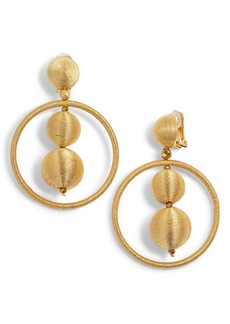 Oscar de la Renta Double Beaded Ball Hoop Clip-On Earrings