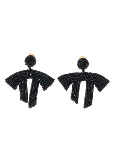 Oscar de la Renta Drape Beaded Clip-On Earrings