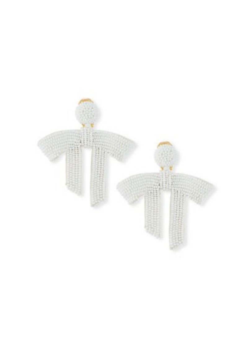 Oscar de la Renta Draped Bow Bead Clip-On Earrings