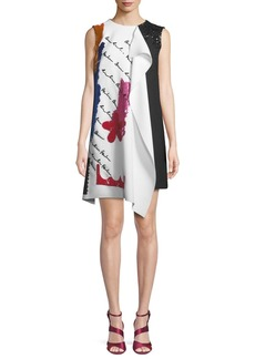 Oscar de la Renta Draped Embroidered Wool Cocktail Dress