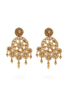 Oscar De La Renta Dreamcatcher beaded clip earrings