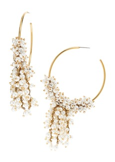 Oscar de la Renta Drop Beading Hoop Earrings