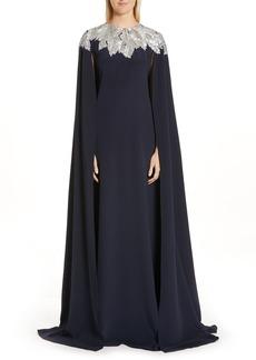 Oscar de la Renta Embellished Cape Silk Gown