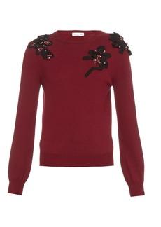 Oscar De La Renta Embellished crew-neck wool sweater
