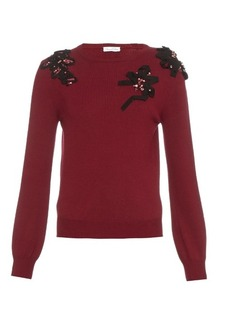 Oscar De La Renta Embellished crew-neck wool sweater