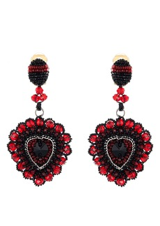 Oscar de la Renta Embellished Heart Drop Earrings