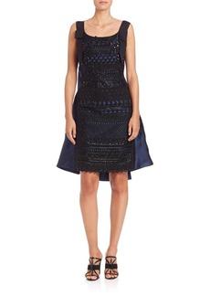 Oscar de la Renta Embellished Lace Pleated-Back Dress