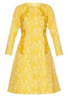 Oscar De La Renta Embellished-panel tweed coat