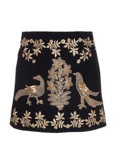 Oscar de la Renta Embroidered A-Line Mini Skirt