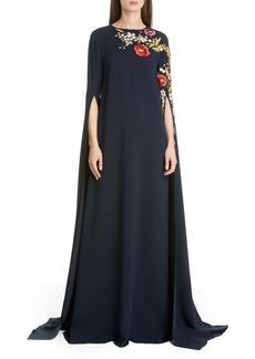 Oscar de la Renta Embroidered Cape Sleeve Stretch Silk Dress