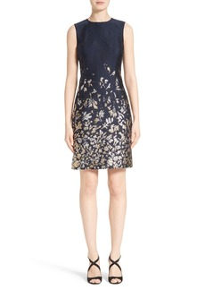 Oscar de la Renta Embroidered Floral Cloqué Dress