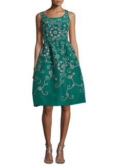 Oscar de la Renta Embroidered Floral Scroll Full-Skirt Party Dress