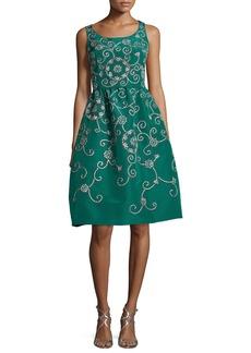 Oscar de la Renta Embroidered Floral Scroll Full-Skirt Party Dress