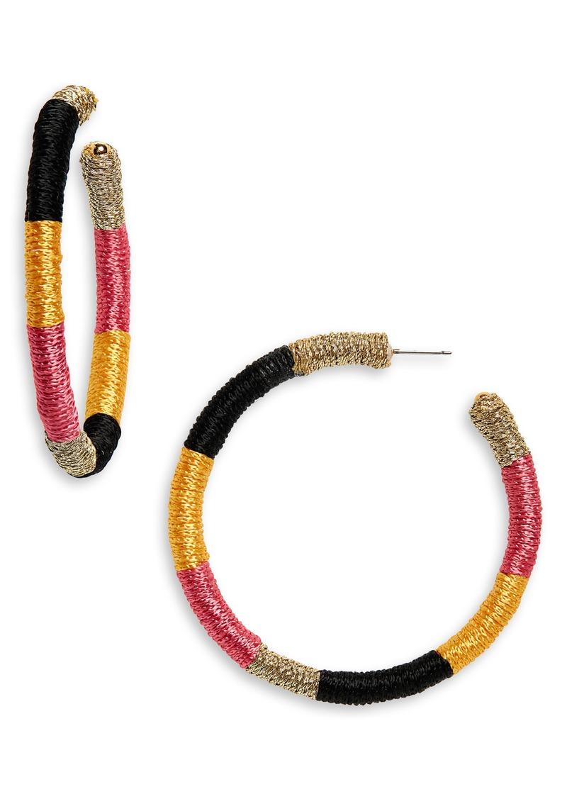 Oscar de la Renta Embroidered Hoop Earrings