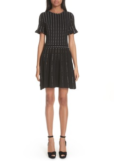 Oscar de la Renta Embroidered Knit Dress