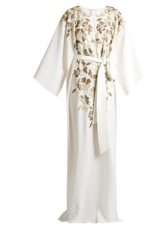 Oscar De La Renta Embroidered lamé silk-crepe gown