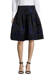 Oscar de la Renta Embroidered Pleated Skirt