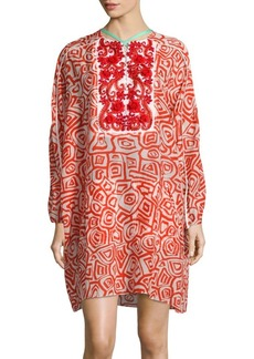 Oscar de la Renta Embroidered Printed Dress