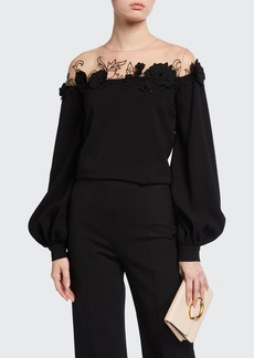 Oscar de la Renta Embroidered Silk Illusion Blouse