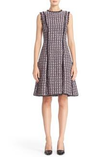 Oscar de la Renta Eyelash Trim Sequin Tweed Dress