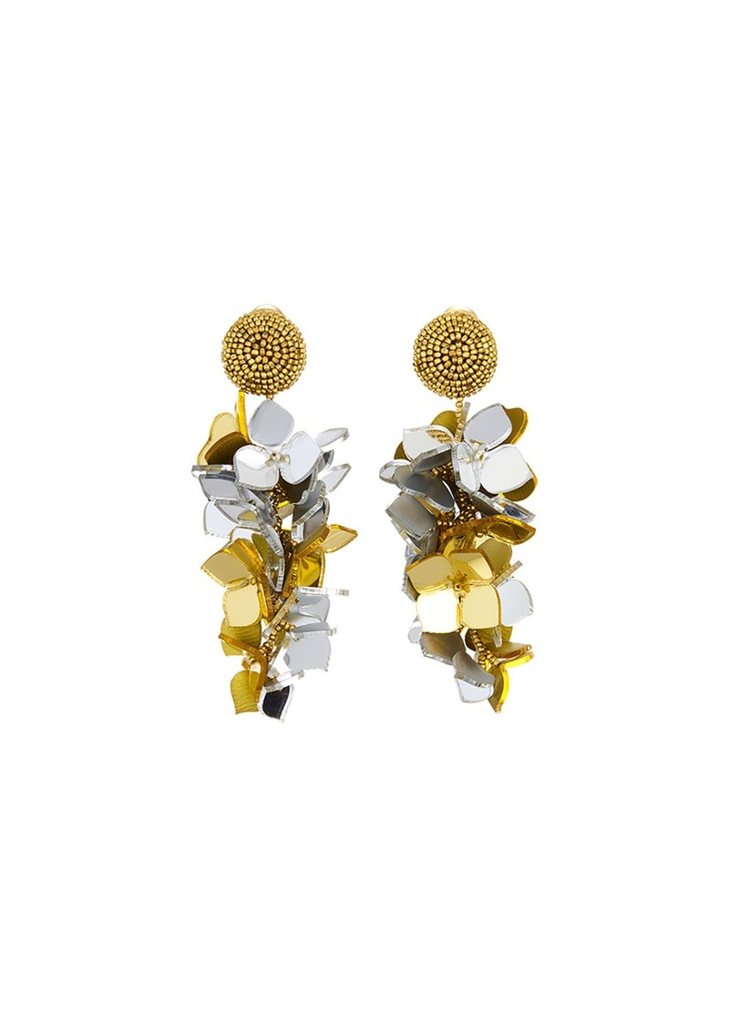 Oscar de la Renta Falling Flower Cluster Clip Earrings