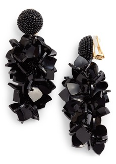 Oscar de la Renta Falling Flowers Drop Earrings