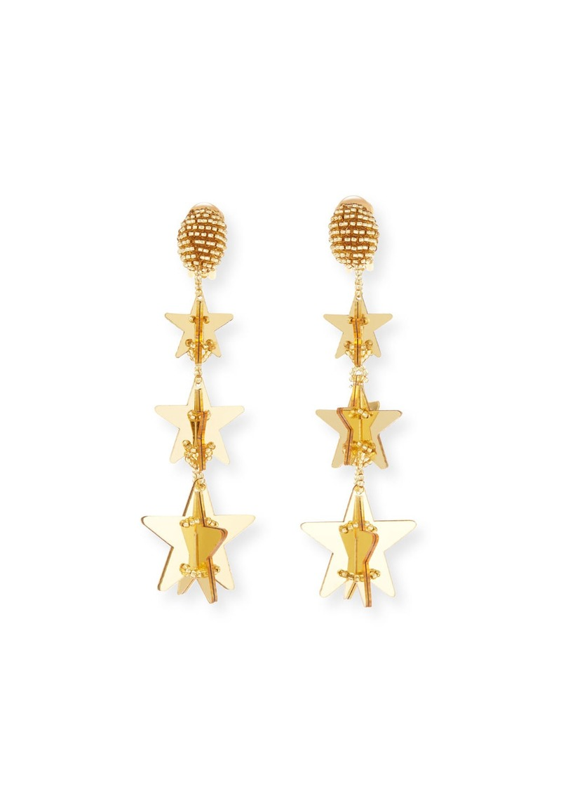 Oscar de la Renta Falling Stars Clip-On Drop Earrings