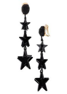 Oscar de la Renta Falling Stars Drop Earrings