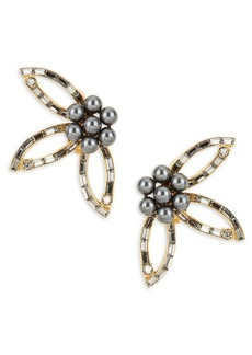 Oscar de la Renta Faux Pearl and Stone-Accented Floral Clip-On Earrings