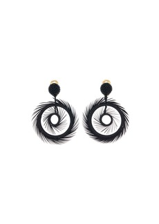 Oscar de la Renta Feather Hoop-Drop Earrings